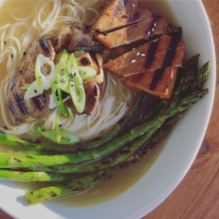 Homemade ramen noodle soup